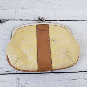 Coach Signature Coin Purse Wallet Yellow Leather